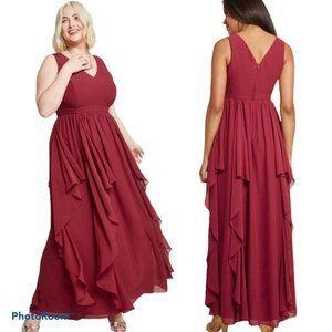 NEW ModCloth As Ruffles Ripple Maxi Dress In Burgu